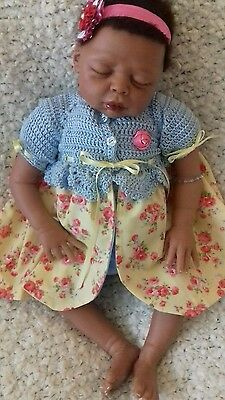 Sleeping, Mixed Race, Reborn,  Baby Girl Doll Sophia. Rooted Hair. 21 Inches.