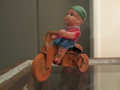 """Celluloid Wind Up Toy/""""teddy's Cycle""""/made In Occupied Japan/works"""