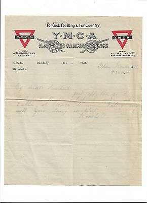 1913 ? YMCA letter head referencing going on duty to Dublin from Marshall Lane