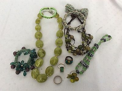 Job Lot Mixed Green  Coloured Costume Jewellery  Necklaces Bracelets Rings