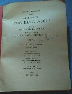 """Vocal Score signed by Oscar Hammerstein -  """"King&I"""""""