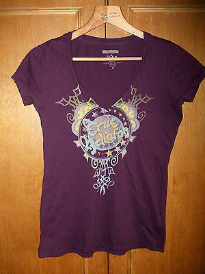 True Religion women top t-shirt stretchable purple Size S UK 8 10v-neck cleavage
