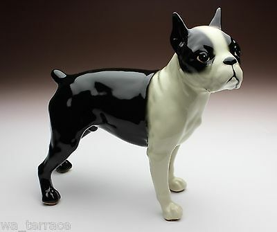 Boston Terrier Standing Dog Porcelain Figurine 7 Inches Long Japan NEW