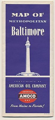VINTAGE 1951 AMOCO OIL BALTIMORE GAS STATION Road Map Petroliana MAN CAVE RM44