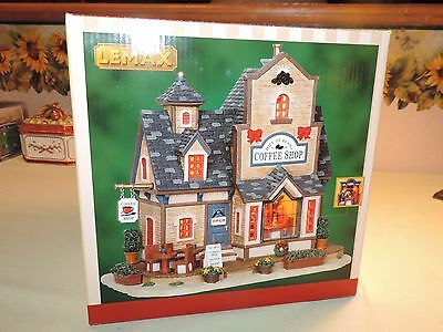 Lemax Lighted Porcelain Village Bldg~Hill of Beans Coffee Shop~2012~Window Scene