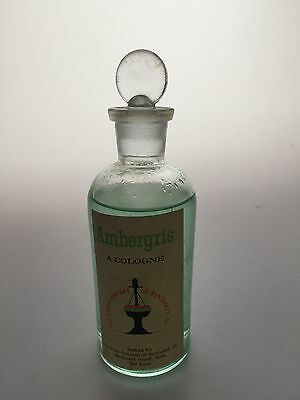 Vintage AMBERGRIS Cologne Apothecary Bottle Ground Stopper CLOTH COMPANY 4 oz.