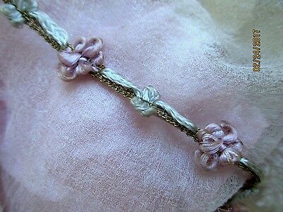 Antique Edwardian French Hdmd Rosette Ribbon Bow Tiny Mesh Metal Trim Patina