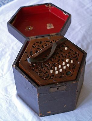 Antique  German Concertina, 20 button with box.