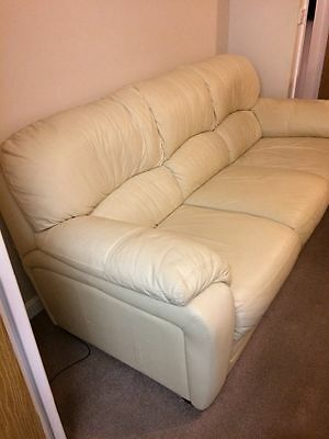 3 piece suite. Cream good quality leather AND footstool