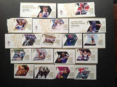 2012 Olympic Games Gold Medal Winners mint set of 29 1st class stamps.