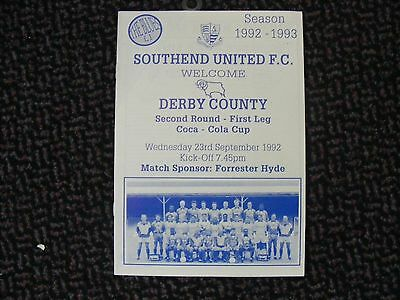 Southend United V Derby County League Cup 2Nd Rd 1St Leg Sept.92