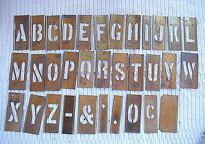 "Vintage Reese's Brass Lockedge Adjustable Stencils 2"" Letters A-Z Plus Extras"