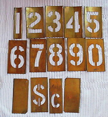 "Vintage Reese's Brass Lockedge  Stencils 4"" Numbers 0-9 Plus Extras w/Box"