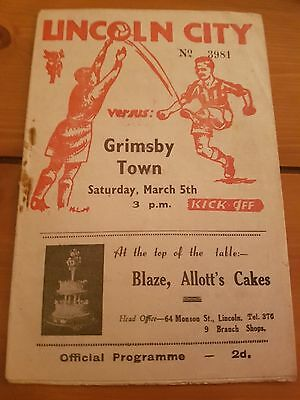 1949 Lincoln City Programmes: Grimsby Town