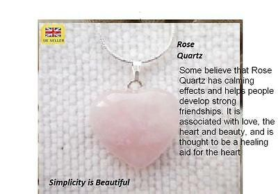 Silver Plated Heart Necklace  Rose Quartz Gemstone Healing & Gift Pouch