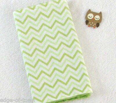 Handcrafted, Flannel Green Chevron Print & Green Minky Bubble Baby Burp Cloth