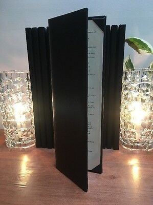 "4 Leather Book Style Double Fold Panel Menu Covers Menu Holder Black 14.5""x4.8"""