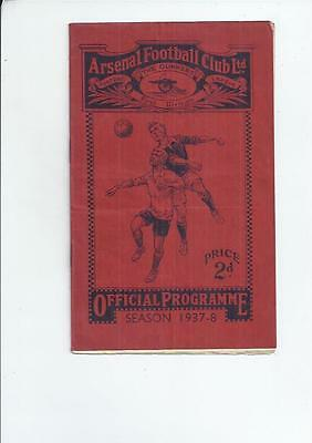 Arsenal v West Bromwich Albion Football Programme 1937/38