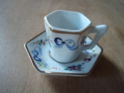 Vintage Hand Painted China Miniature Cabinet Cup And Saucer From Portugal