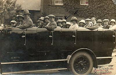 OLD REAL PHOTO POSTCARD of a CHARABANC OUTING