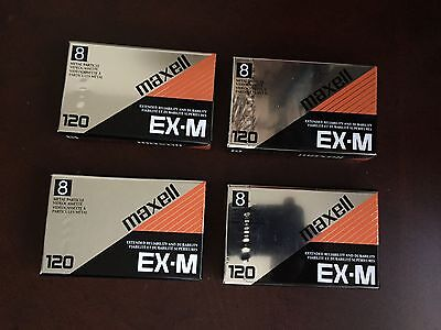 4 brand new MAXELL EX-M 120 8mm Metal Particle Videocassettes tape