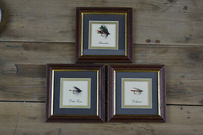 Set 3 X Vintage Fly Fishing Salmon Anglers Flies Pictures In Wooden Frames