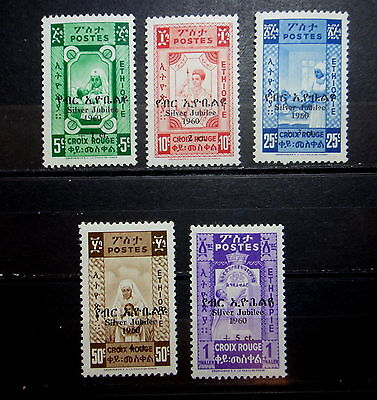 ETHIOPIA 1960 RED CROSS Stamps SET Silver Jubilee - Mint MNH -  r54e761