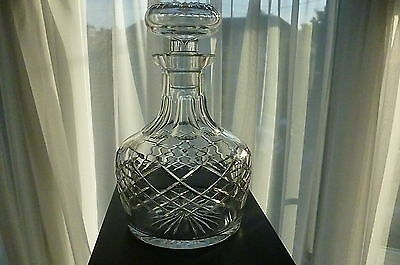 Vintage Hand Blown & Cut Lead Crystal Decanter With Stopper- Great Condition