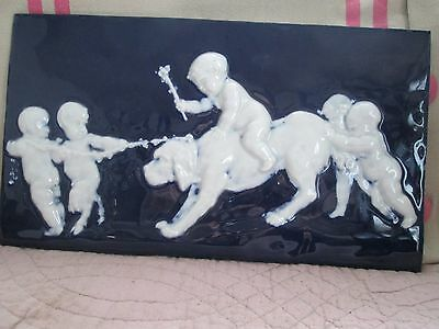 Plaque Porcelaine Emaillee Putti Limoges