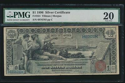 AC Fr 224 1896 $1 Silver Certificate EDUCATIONAL PMG 20