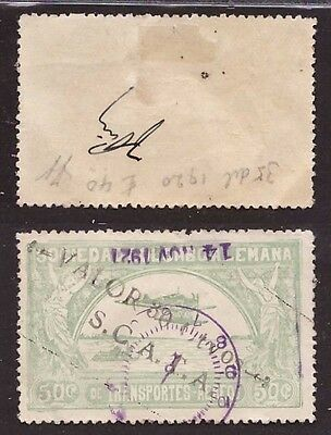 Colombia, 1920 SCADTA issue 30 c. on 50 c. green used (Yvert 27) (Diena)   -BE81