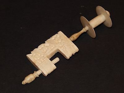 Wonderful Antique Chinese Carved Bovine Bone Sewing Clamp & Attached Spool