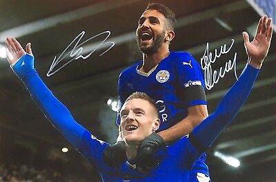 Soccer Leicester City Vardy & Mahrez Original Hand Signed Photo 12x8 With COA