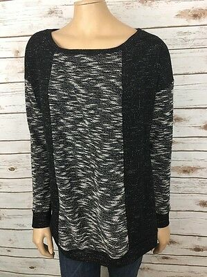 A Pea in the Pod Maternity Sweater L Large Black White Marled