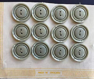 Vintage Buttons - 12 Grey 2 Hole Carved Flat Backed Buttons