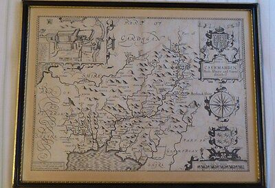 Antique 1616 2nd edition map of Carmarthen by John Speed