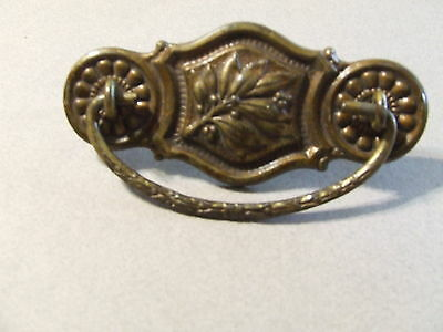 "Antique Vintage Drawer Pull Art Deco Floral Brass W/ 3"" Hole Spacing (Sd3 77)"
