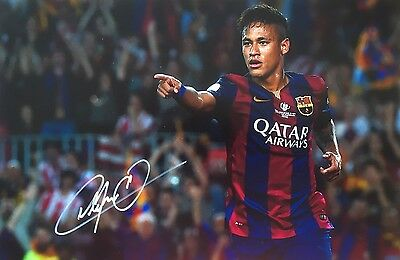 Soccer Barcelona Neymar Original Hand Signed Photo 12x8 With COA