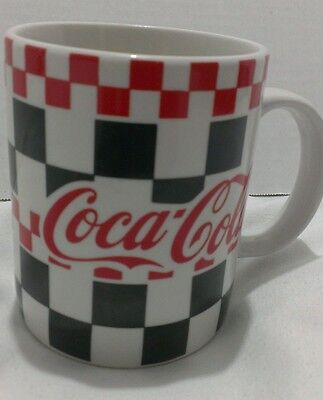 1996 Gibson Coca Cola 3 Coffee Mug Cups Red & Black Checkered 12 Ozs