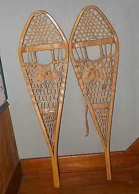 VINTAGE Gros Louis Snowshoes 42 x 12  inches  Indian Raw Hide Snow Shoes
