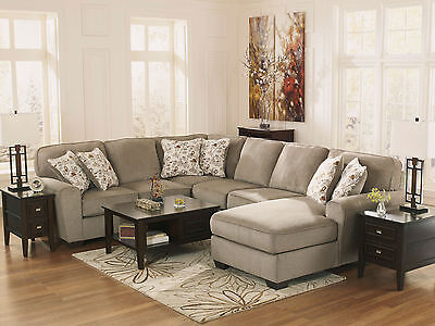 HUNTER - 4pcs Modern Gray Fabric Sofa Couch Chaise Sectional Set Living Room New