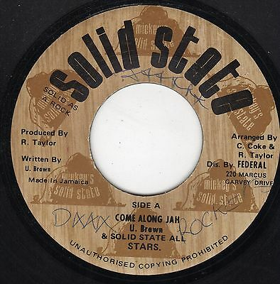 """ COME ALONG JAH. "" u. brown. SOLID STATE 7in  1976."