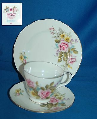 """Vintage Duchess """"Summer"""" bone china trio, cup saucer and plate"""