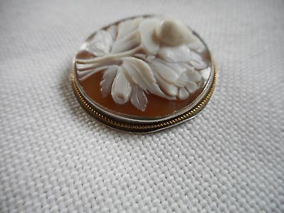 Antique flowery cameo sterling silver pendant