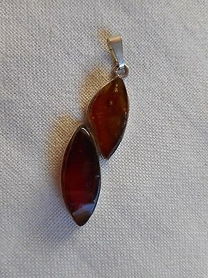 Antique large genuine Baltic honey amber sterling silver pendant,some inclusions