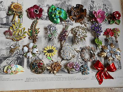 Vintage collection of 26 enamel flowers brooches:My Fair Lady,Germany,Darlene
