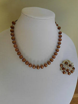 Vintage Coro Brown Lucite Moonglow,Rhinestone Brooch and not signed necklace
