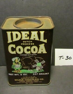 "1960'S VTG. 8 OZ. IDEAL COCOA TIN No.403 - 4.75"" TALL,3.25"" ACROSS, 2.25"" DEEP"