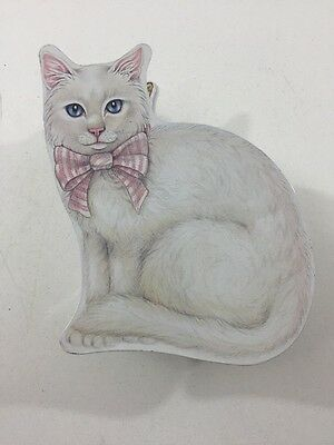 "White Cat With Pink Bow - Metal Tin Trinket Box / Container - 7"" x 7"" x 2"""