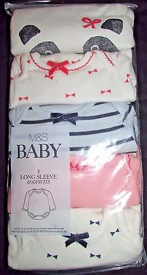 Newborn Baby Girl Long Sleeve Bodysuits Pink Mix Marks & Spencer Panda Bow's & S